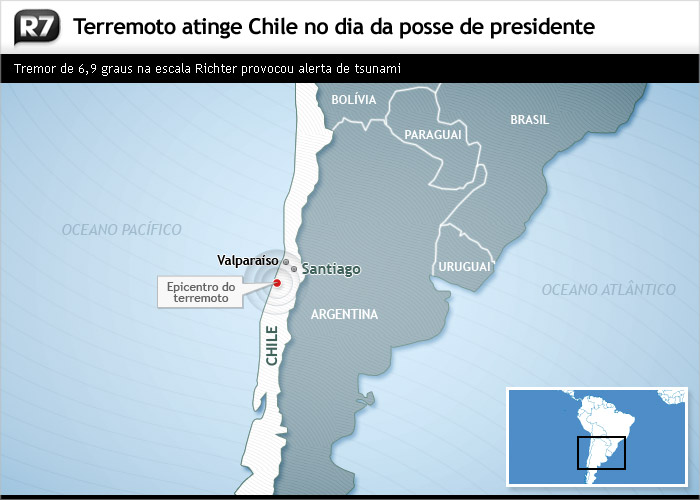 terremoto de 6,9 no Chile na posse do Piñera