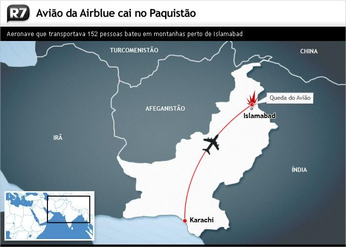 Mapa avião queda Paquistão