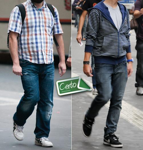 Calça jeans e tênis formam uma parceria imbatível no vestuário masculino, desde que bem combinados, como fizeram os dois rapazes da foto acima. Ambos usara...