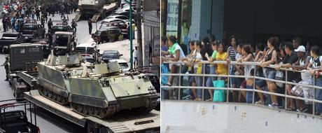 Cariocas assistem 'de camarote' aos tanques