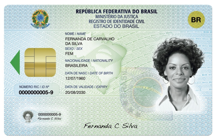 Novo RG ou Registro de Identidade Civil - frente HG