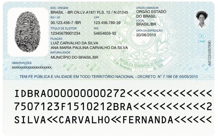 Novo RG ou Registro de Identidade Civil HG - verso