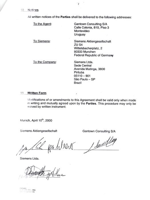 Documento mostra acordo entre a Siemens Ltda., com sede em São Paulo, e a Gantown Consulting S/A, com sede no Uruguai