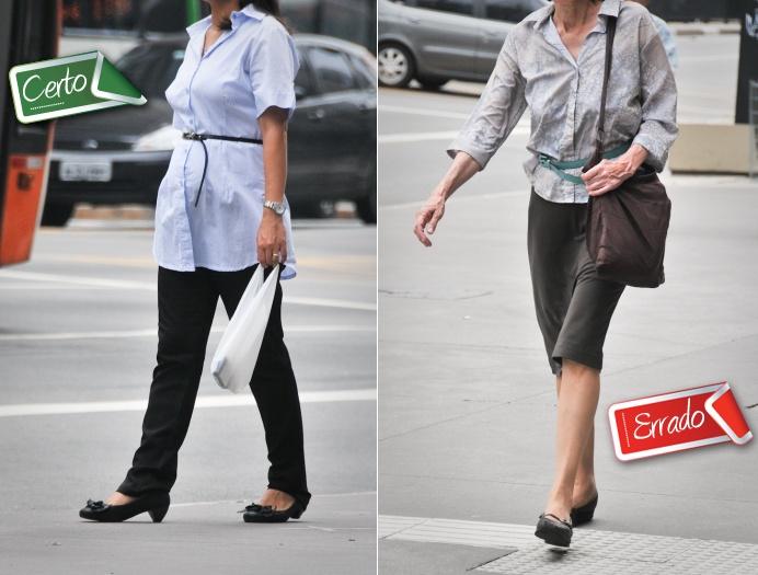Cintos, faixas ou lenços bem posicionados dão graçaàs peças básicas. No caso da moça de camisa azul (foto à esquerda), o cinto fino e discreto não comprom...