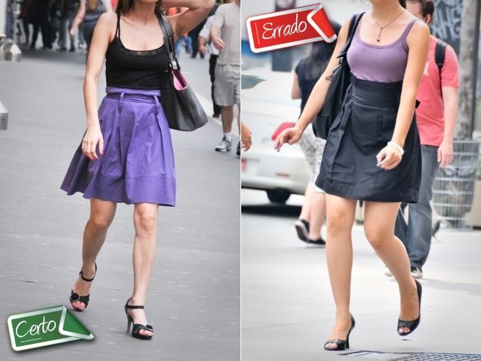 Saia de cintura alta com faixa é uma produção que geralmente dá certo. Mas é preciso estar atento ao comprimento da cintura. A saia preta usada pela jovem ...
