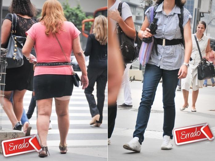 Não é porque os cintos estão na moda que precisam ser usados a qualquer custo. A mulher da esquerda, por exemplo,escolheu um cinto largo que, além denada...