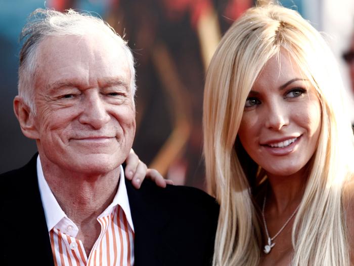 Hugh Hefner, fundador da revista Playboy, anunciou no final de 2010, via Twitter, que havia ficado noivo da PlaymateCrystal Harris