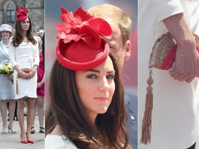 No mesmo dia, Kate homenageou o paísusando as cores dabandeira do Canadá e foi ousada ao usar omesmo vestidoem que apareceu nas fotos oficiais do noiv...