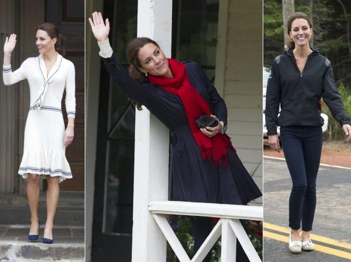 Na segunda-feira (4), a duquesa escolheuum vestido de malha assinado por Sarah Burton, da grife Alexander McQueen.Ela também usou trench coach azul marin...