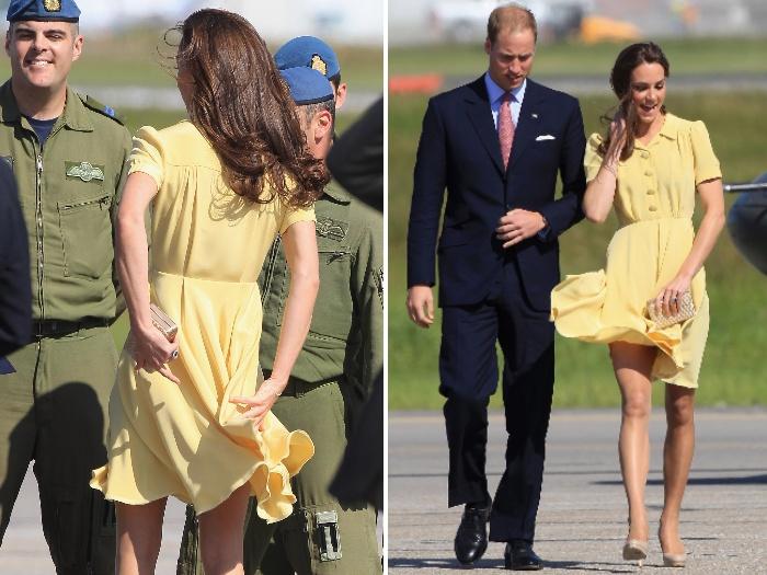 Para embarcar para os EUA, nesta quinta-feira (7), ela apostou em um belo modelito retrô, assinado pela estilista britânica Jenny Packham. Mas Kate não con...
