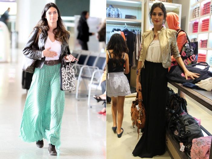 Thaila Ayala adora saias longas. Na foto à esquerda, ela usa look para o dia; à direita, aposta em visual para noite com saia preta, jaqueta dourada e bato...