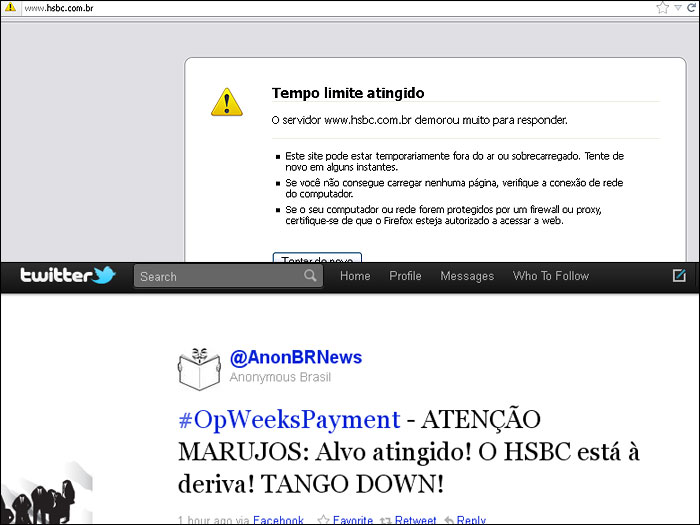 Site do banco HSBC fica fora do ar e grupo de hackers Anonymous ...