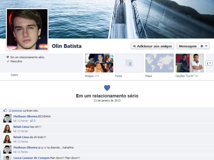 Olin Batista muda status para relacionamento s&eacute;rio no Facebook ...