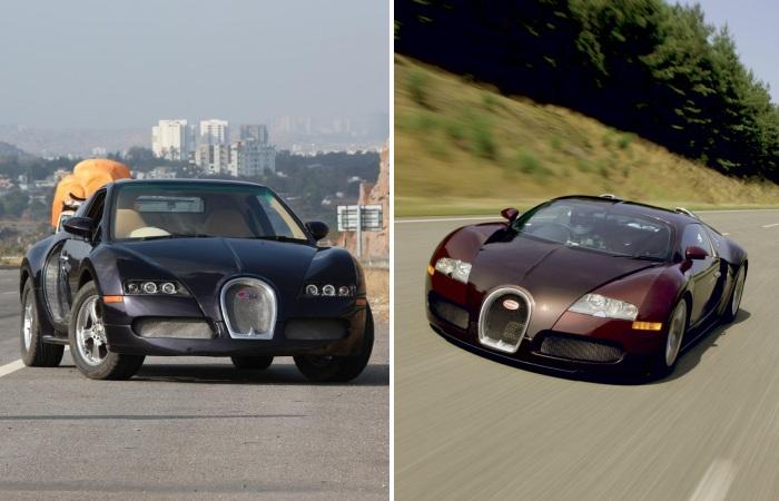 O Bugatti Veyron (à direita) é o carro mais rápido e, possivelmente, um dos mais desejados do mundo. Porém ele custa mais de R$ 7 milhões, e sua produção é...