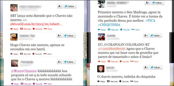 Internautas choram morte de Chaves do seriado no Twitter ...