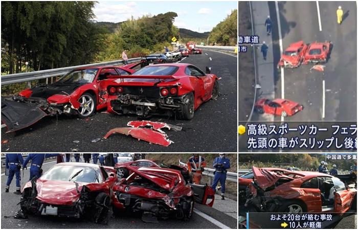 """Chamado na época de """"acidente mais caro do mundo"""", o engavetamento de oito Ferraris (e um Lamborghini e quatro Mercedes) no Japão provocou mais um prejuízo..."""