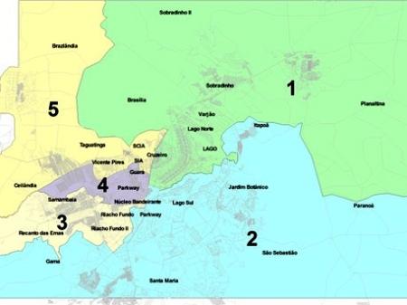 Novo modelo divide as 31 regiões administrativas do DF em cinco bacias