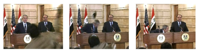 Muntadar al Zeidi, jornalista correspondente da rede de televisão Al Baghdadia, foi o responsável pela sapatada em Bush. Ele participava da entrevista cole...