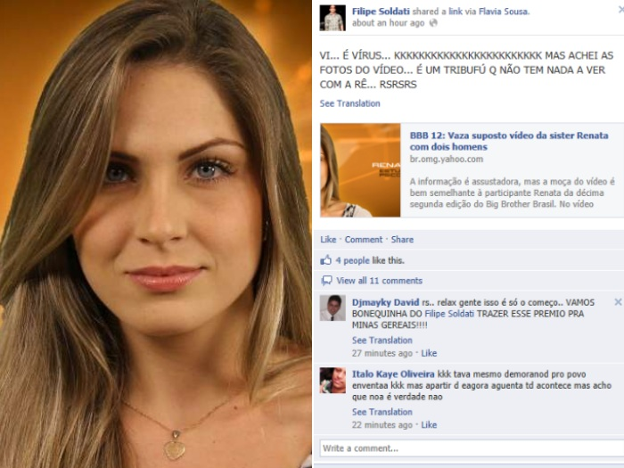 Namorado garante que não é Renata D'Ávila quem aparece em vídeo