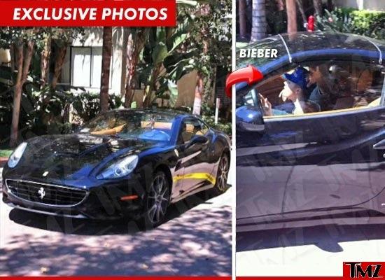"""Bieber curte Ferraris, embora não tenha lá muito talento para dirigi-las. Esta foto foi tirada pouco depois de o cantor dar um """"totó"""" com sua Ferrari Calif..."""