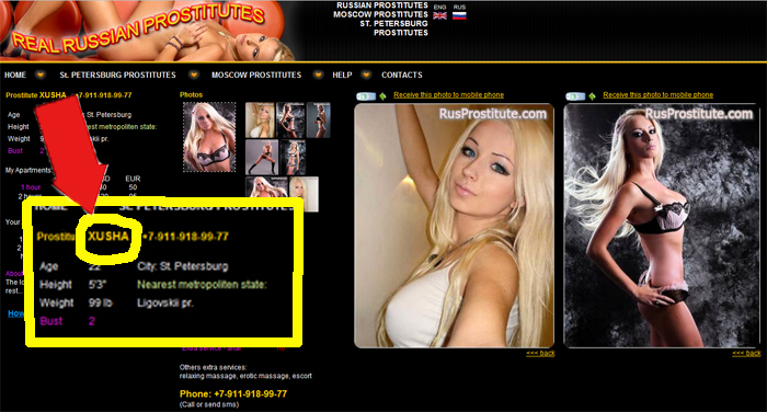 Reprodução/Rusprostitute.com