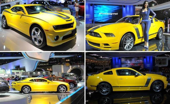 Entre diversos carros que estão no Salão do Automóvel, dois modelos atraem os olhares de todos os visitantes que passam pelos estandes da Ford e da Chevrol...
