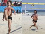 José Loreto exibe boa forma em partida de futevôlei na praia