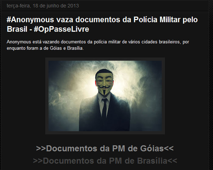 Anonymous vaza arquivos da PM